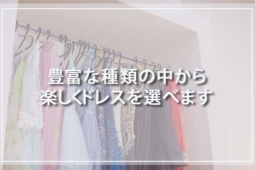 豊富な種類の中から楽しくドレスを選べます
